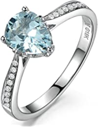 Elegant 1 Carat Pear cut Topaz and Diamond Engagement Ring for Women in White Gold