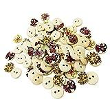 B Blesiya 50 Holz Knöpfe Dekoknöpfe Babyknöpfe für Nähen Handarbeit Kinder DIY, 2 Loch, Mischte Blumen Gedruckt