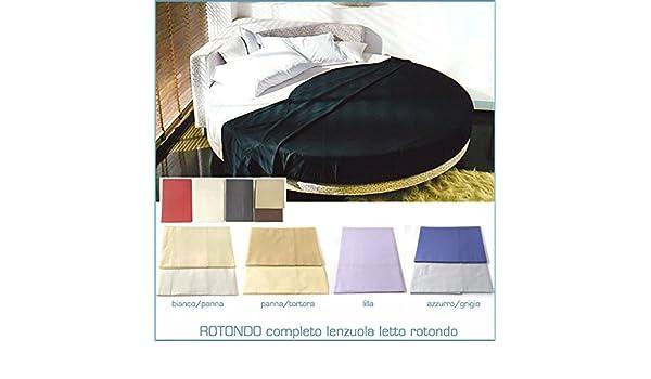 Lenzuola per LETTO ROTONDO 4 FEDERE sotto con Elastico Colore LILLA ...