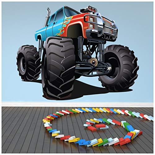 azutura Blau Red Monster Truck Wandtattoo kühlen Fahrzeug Wand Sticker Jungen Schlafzimmer Dekor Erhältlich in 8 Größen XX-Groß Digital (Holz-monster-truck)