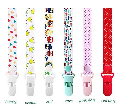 Schnullerketten mit Clip, Goldore Baby® Schnullerkette Verstellbare Länge mit Druckknopf - 6 Stück (Mädchen)