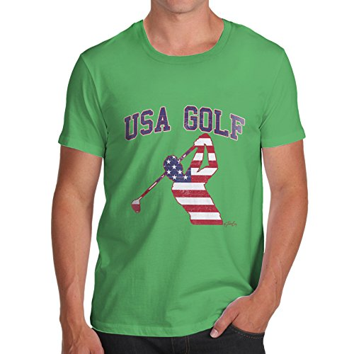 TWISTED ENVY Herren T-Shirt USA Golf Print X-Large Grün (Shirt Golf Distressed)