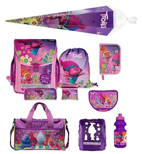 Familando Trolls Mädchen-Schulranzen Set 10tlg Federmappe Sporttasche Schultüte 85cm Poppy and Friends mit Regenschutz