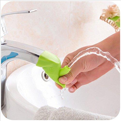Preisvergleich Produktbild HENGSONG Silikon Hahn Extender Wasserhahn Extender Baby Kinder Waschen Hand Wasserhahn Anzapfung Extender Waschtischarmatur für Badezimmer Küche (Grün)