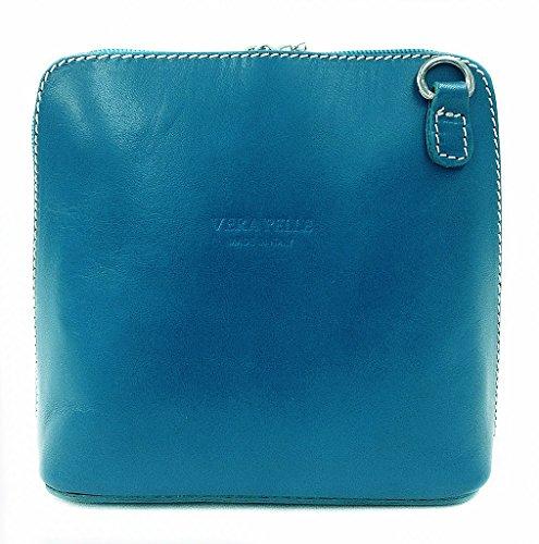 Vera Pelle Italiana Piccolo Croce Corpo Borsa o borsa a tracolla Purple Small Turquoise