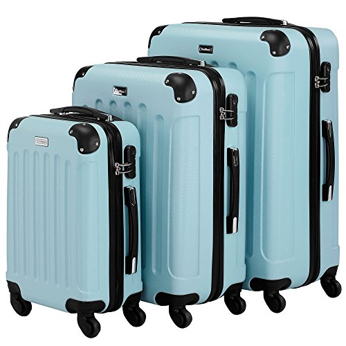 VonHaus 3pc Hard Shell ABS Trolley Suitcase Luggage Set with 4 Rotating Wheels, Combination Lock & Telescopic Handle - Duck Egg Blue