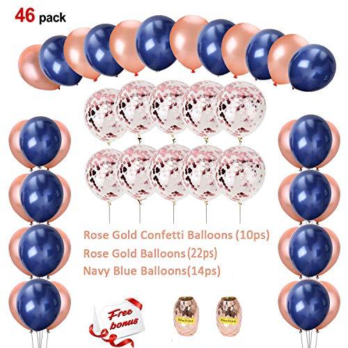 Erosion® Marineblau und Rose Gold Konfetti Luftballons Party Dekoration für Valentines Brautdusche Hochzeit Engagement Sweet 16 Geburtstag Graduation Supplies