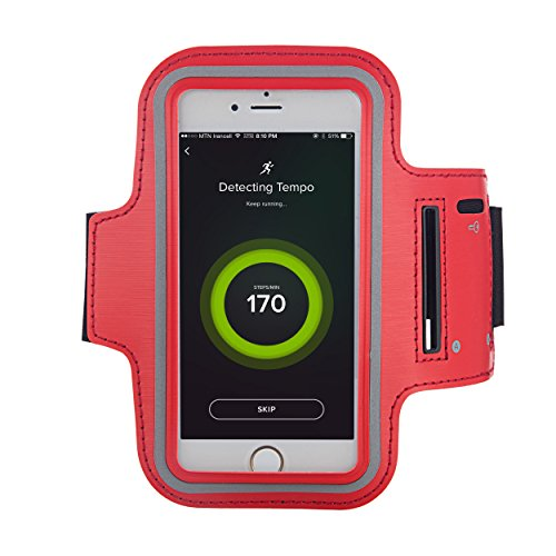 Smartphone Jogging- und Sportarmband (Oberarm) von Liamoo® ideales Neopren – Armband für Fitness / Training / Jogging / Sport / Laufen / Freizeit / Wandern / Spaziergänge mit Schlüsselfach und Schnell Rot
