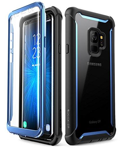 i-Blason Samsung Galaxy S9 Hülle, [Ares] Handyhülle Ganzkörper Robust Schutzhülle Bumper Case 360 Grad Clear Cover mit integriertem Displayschutz für Samsung Galaxy S9 2018, Schwarz/Blau