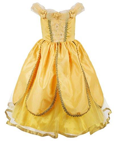 JerrisApparel Prinzessin Belle Kostüm Deluxe Party Schick Ankleiden für Mädchen (3 Jahre, Gelb (Schicke Kostüme Kind Prinzessin)