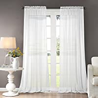 Dreaming Casa Sheer Curtains Voile White Transparent Classical Solid Curtains Voile BedroomUltra Soft Voile Windows High Thread with Rod Pocket Balcony Decor Living-room 2 Panels 55x 72 inch Drop