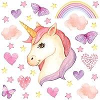 GET STICKING DECOR® Unicornio Caballo Pegatinas De Pared/ Calcomanías Colección, TwinklesEyeFace Unic.11.Face, Vinilo Desmontable Matt, Multi Color. (Large)