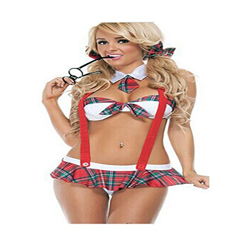 qiyushow Frauen 'S SCHOOL GIRL Kostüm Sexy Dessous Uniform Halloween Cosplay Fancy (School Naughty Kostüm)
