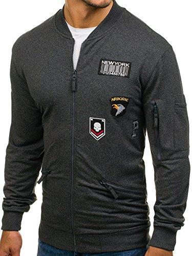 BOLF Herren Sweatshirt Sweatjacke Langarmshirt Stehkragen Zip 1A1 MIX Anthrazit_0736