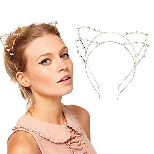 DRESHOW Frauen Perlen Katze Ohren Stirnbänder Rhinestone Kristall Haar Band für Party, Packung mit 2, Silber, Gold