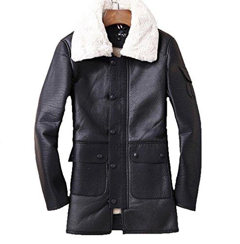 YCMDM pelliccia del rivestimento di cuoio di svago degli uomini del cappotto di inverno di autunno nero XL M XXL XXXL , black , m