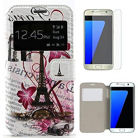 hcheg sintética funda de piel con tapa (# 2) Funda tipo cartera para Samsung Galaxy S7Edge Soporte, Con Ventana de la torre Eiffel–Carcasa con protector de pantalla de cristal templado