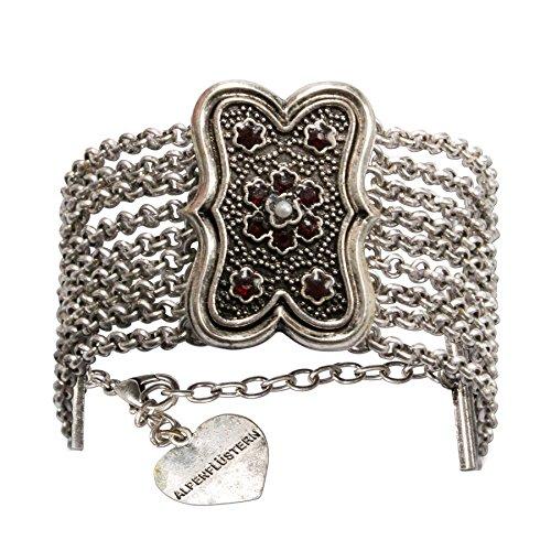 Alpenflüstern Trachten-Armkette Margot - Elegantes Trachten-Armband Damen-Trachtenschmuck mehrreihig mit Mittelteil antik-Silber-Farben DAB048