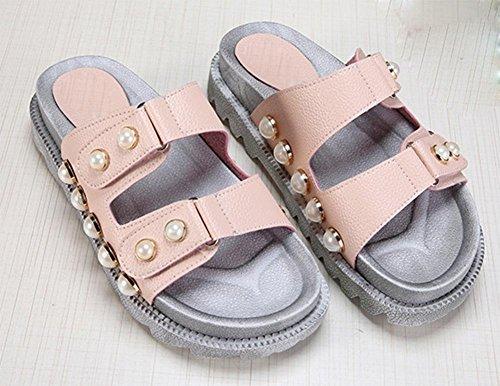 Sommerschuhe mit schweren Boden Sandalen und Pantoffeln Dame Perle Schnalle Mode Schuhe Pink
