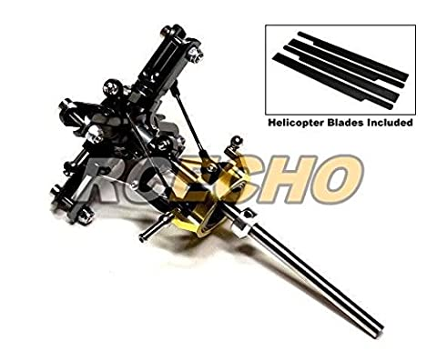Flybarless Metal Main Rotor Head & 4 Blades for Align T-REX 450 Helicopter RH420 with RCECHO Full Version Apps Edition