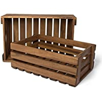 Park Alley- Cajas de madera para frutas, verduras, madera, etc. Juego de 2 cajas de almacenaje de madera de acacia - Ideal como palé para el jardín o como objeto Déco.