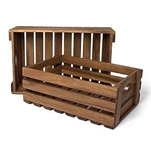 holzkiste f r obst und gem se aufbewahrungskisten aus akazienholz ge lt 2er set gut geeignet. Black Bedroom Furniture Sets. Home Design Ideas