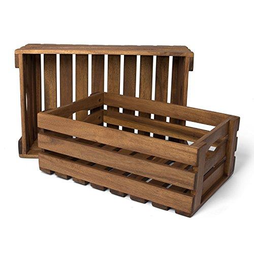 Park Alley Holzkiste für Obst und Gemüse | 2er Set | Aufbewahrungskisten aus FSC® 100{84d2127c7705da13e689c90bf325f640d7562d6863d3bc9d3ef4aea8ffae3175} Akazienholz geölt | Kiste für den Garten, Apfelkiste oder Kartoffelkiste brauchbar in natur