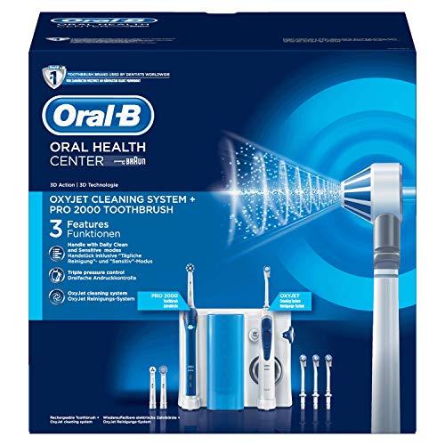Oral-B Mundpflegecenter PRO 2000 Elektrische Zahnbürste + Oxyjet Munddusche für eine sanfte Reinigung am Zahnfleischrand