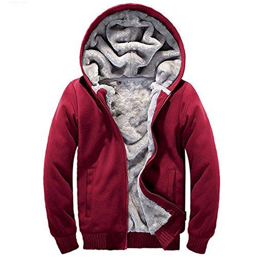 bed30d48989 MANLUODANNI Men s Sport Suit Hooded Coat Fleece Tracksuit Jacket Red M -  Buy Online in Oman.
