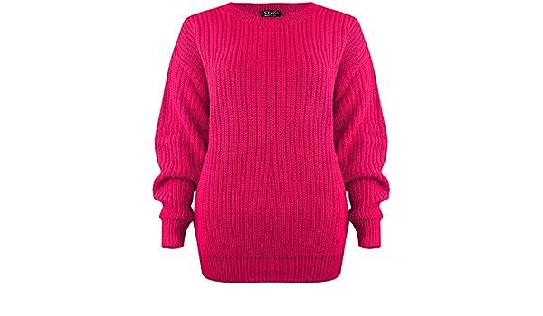 Age 7-8, Fuchsia Vanilla Inc /® Kids Girls Boys Unisex Plain Thick Knitted Baggy Jumper Sweater Age 7-13
