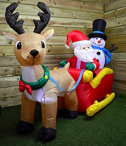 Natale gonfiabile renna & slitta illuminato a led interno & esterno decorazione sfondo scenario