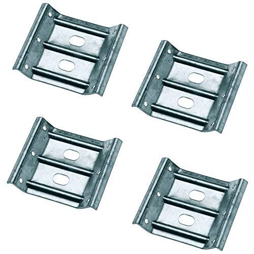 Gedotec Winkelbeschlag Tisch-Zargenverbinder Tischbein-Beschlag für Holz-Möbel & Bänke | Höhe 80 mm | Stahl verzinkt | Winkel-Verbinder für eine stabile Konstruktion | 4 Stück - Möbelverbinder Metall