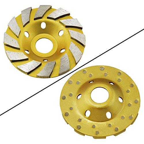 Aussel 4-Zoll-Diamant-Schleif-Schalen-Rad Turbo Cup-Scheibenmahlwerk für Granit Marmor Beton (Gelb 01)