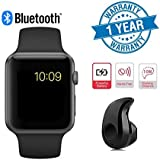 Supreno Black A1 Bluetooth SmartWatch With WhatsApp, Facebook, Twitter, Pedometer, Remote Camera, SIM Card & Sleep Monitoring Support With Ultra Small S530 Bluetooth 4.0 Headset Compatible With Xiaomi Mi, Apple IPhone & IPad, Samsung, Sony, Lenovo