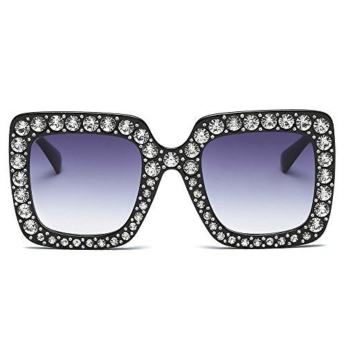 Skang Klassische Polarisierte Damen Sonnenbrille Mit Strass Rahmen Übergröße Mode Sunglasses Für Fahren Reisen(Einheitsgröße,D)