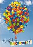 A4 Glückwunschkarte Bunte Luftballons