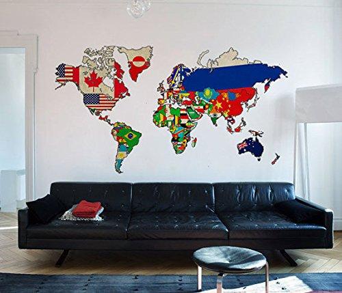 Adhesivo Mapa Mundo de Pared Vintage con Banderas de Países - 250 x 145 cm