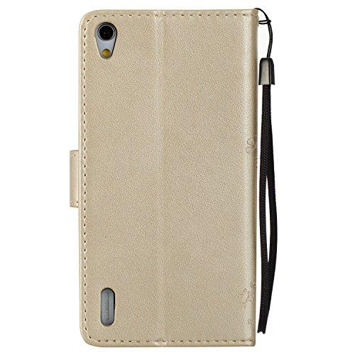 PU Ascend P7 Hülle, Klappetui Flip Cover Echt Leder Tasche für Huawei Ascend P7 Flip Cover Handyhülle Bookstyle mit Magnet Kartenfächer Standfunktion + Staubstecker (4TT)
