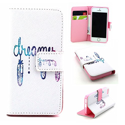 Leder Hülle für iPhone SE,iPhone SE Hülle Glitzer,iPhone SE Hülle Blumen,iPhone SE Hülle Flip Case Handy Tasche Wallet Case Flip Cover Etui für iPhone 5S 5,iPhone SE Hülle Schwarz,EMAXELERS iPhone SE  Horror Man 7