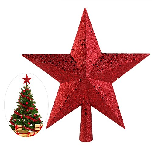 NICEXMAS 9 Zoll Treasures Red Glittered Mini Sterne Weihnachtsbaum Topper