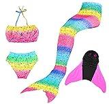 Superstar88 Mädchen Cosplay Kostüm Badebekleidung Meerjungfrau Shell Badeanzug 4pcs Bikini Sets Schöne Flosse ! (Größe 130, Rainbow Pink)
