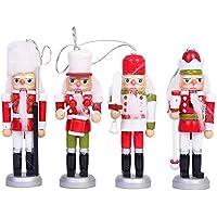 soldado cascanueces lleva traje escocés y cuadros gorro figuras de Navidad muñeca, 4 Piezas 13.5CM Caja de Regalo Accesorios