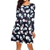 MRULIC Damen Blusenkleid Abendkleid Knielang Kleider Weihnachts Winterrock Festliches Kleid Mehrfarbig Verfügbar Schön Neujahr Herbst und Winter Kleid(A-Schwarz,EU-34/CN-S)
