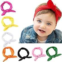 Yistu 8PCS Bebé niños niñas conejo arco oído diadema turbante nudo cabeza envuelve