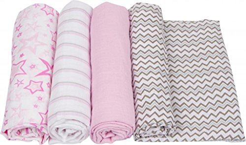 Miracleware Mousseline Nid d'ange, Rose Chevron Collection, 4 pièces par Miracleware