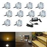 FVTLED 10er Set Ø30mm LED Bodeneinbaustrahler Aussen IP67 0.6W Wasserdichte Bodenleuchten Terrasse Einbauleuchten Warmes Weiß