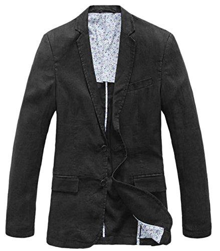 Chino-zwei-knopf-anzug-jacke (chouyatou Herren Blazer mit Zwei Knöpfen - schwarz - XS)