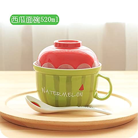 LGK&FA Cute Creative Bol En Céramique Couverts De Fruits Home Eating Bowl Un Grand Bol De Soupe D