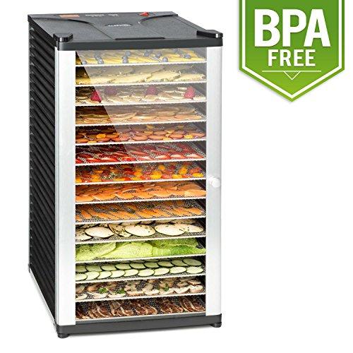 Klarstein Fruit Jerky 14 • Deshidratadora • Desecadora • Secadora de fruta y carne • 14 pisos • Montaje por inserción • 1000 W • Circulación de aire • Temperatura regulable • Pantalla LCD • Negro