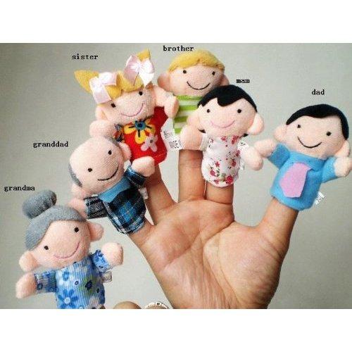 Juego de 6 Marionetas de Dedo   Familiares Incluyen Madre  Padre  Abuelo  Abuela  Hermano  Hermana con Lazo de Cable